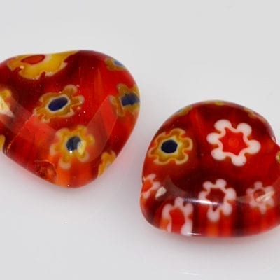 Millefiori Beads - Heart Shape (8mm)