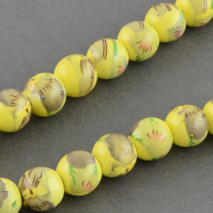Yellow Printed Porcelain Beads