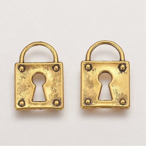 Gold Plated Square Lock Charm Pendant