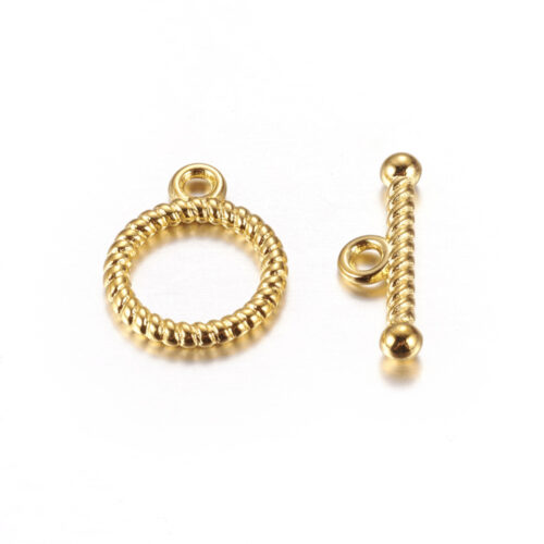 Gold Alloy Ring Toggle TBar Clasp
