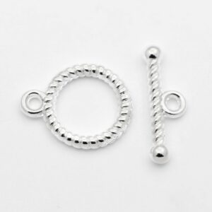 Silver Alloy Ring Toggle TBar Clasp