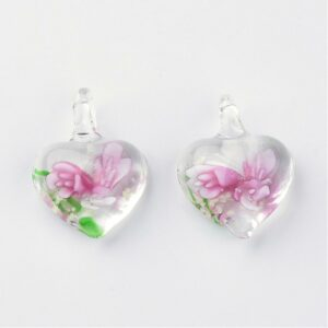 Pink Murano Floral Heart Pendant