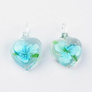 Turquoise Murano Floral Heart Pendant