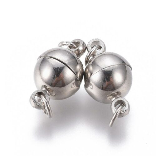 Round Silver Magnetic Clasp