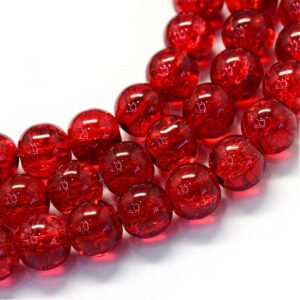 Red Crackle Glass Beads