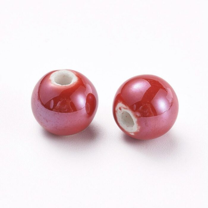 Red Porcelain Beads